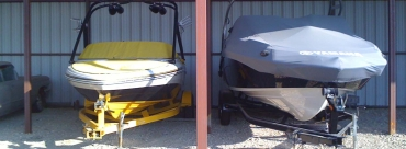Boat storage is not limited to marinas. Try a self storage facility for your boat.